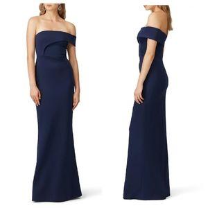 BLACK HALO Molten Navy Blue One Shoulder Maxi Gown